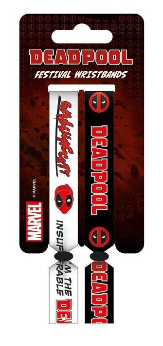 e1b2529f424a Deadpool 2 Pack Festival Woven Black White Wristbands Bracelets Official  Marvel
