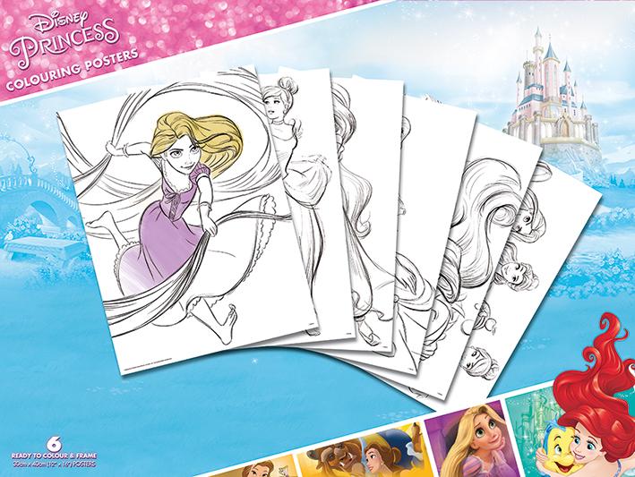 Disney Princess (Belle,Cinderella Jasmin Ariel,Tangled) Colouring ...