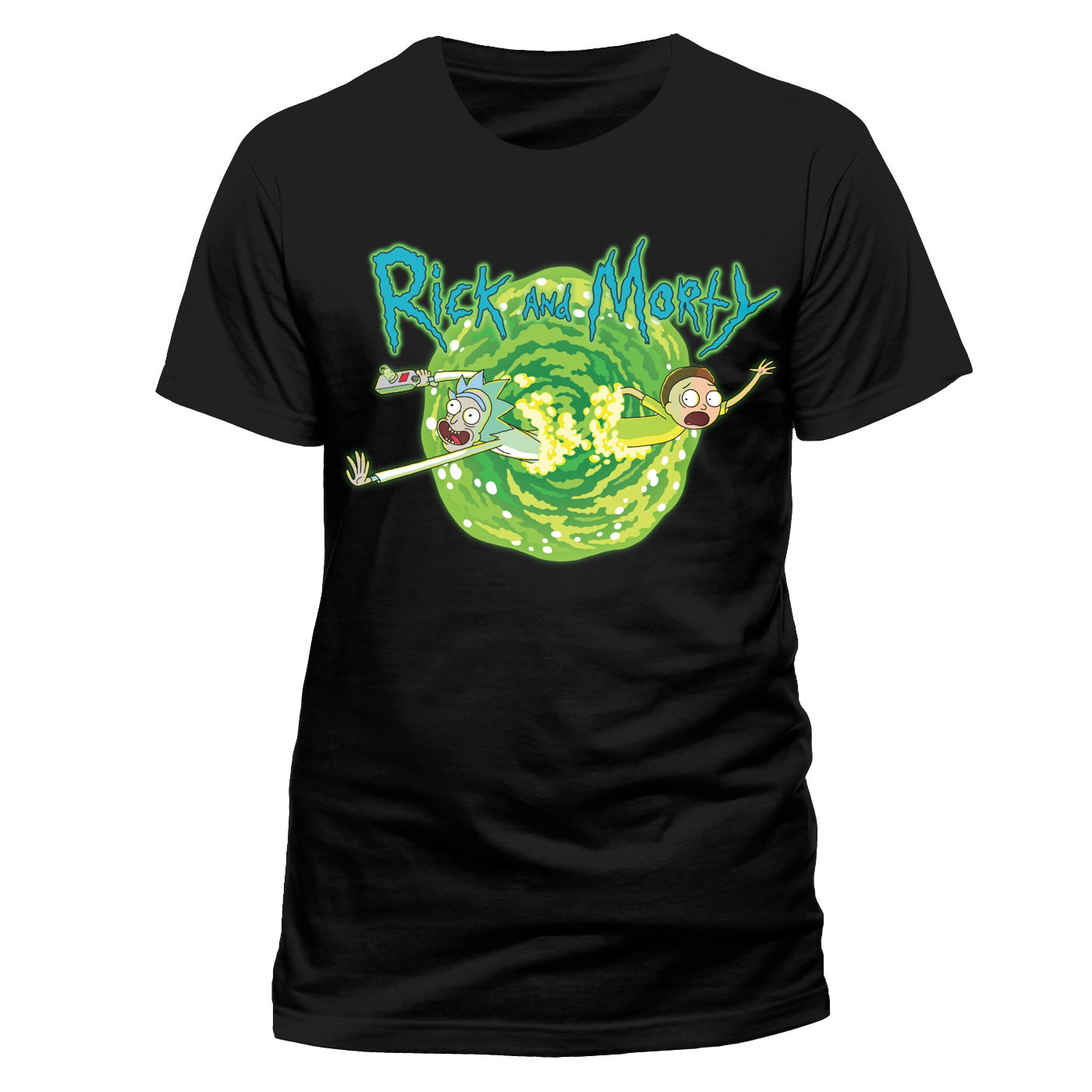 f90fbdf5e12 This super cool black crew neck tee features a bold Rick and Morty portal  printed design. If you re a fan of this hilarious sitcom or know someone  who is ...