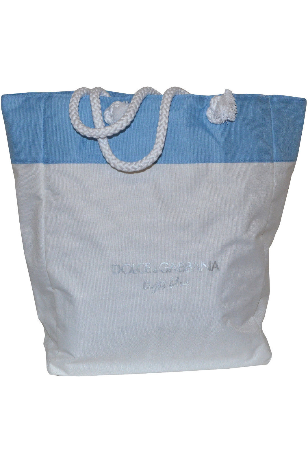 Dolce   Gabbana Light Blue Beach Bag is the perfect summer accessory. This  large sized shoulder bag comes with beautiful light blue detailing  including two ... bfe721f2389dd