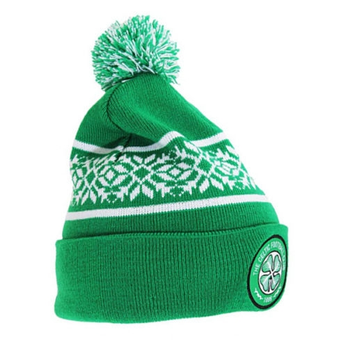 de44af47db3 Celtic Football Club Official Green Snowflake Knitted Bobble Hat Beanie  Turn Up