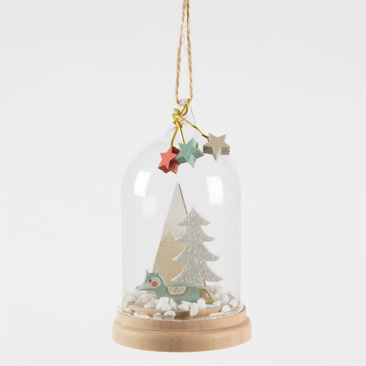 Details about Glass Christmas Bauble Pastel Blue Fox Cute Wood Heart Twine Tree Decoration