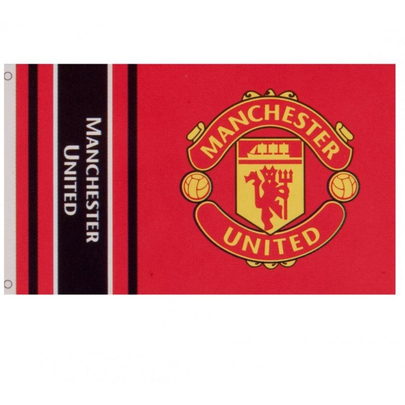 Details About Manchester United Football Club Official Striped Large Flag Big Crest Game Fan B
