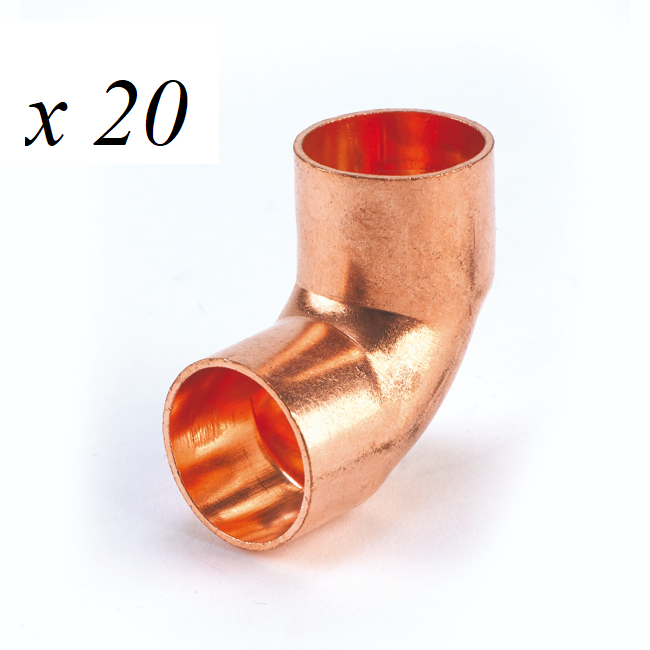 20 x Copper End Feed Equal Tee 15mm Fitting Plumbing Joining Pipe Water Gas